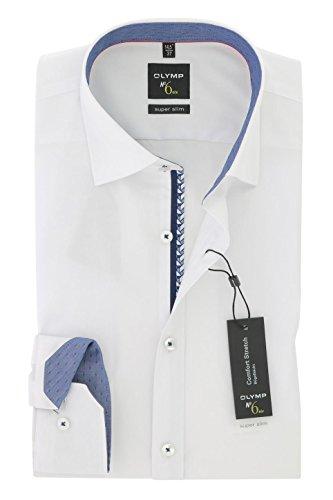 OLYMP No. Six super slim Hemd Langarm blauer Patch Stretch weiß