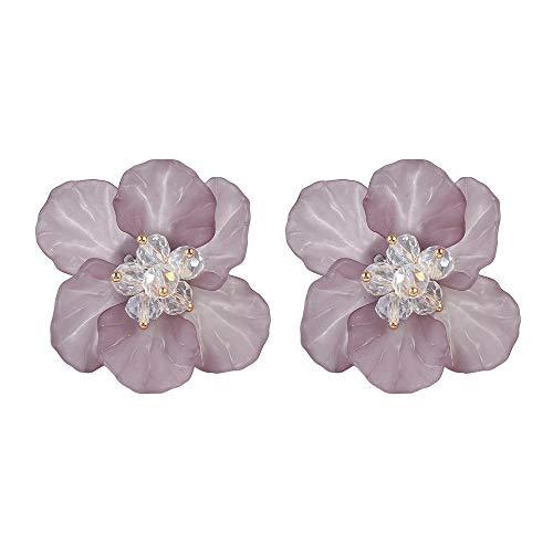 (Cute Acrylic Resin Petals White Beads Flower Stud Earrings Floral Statement Women Girls Gifts-Dark purple )