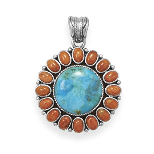 - Reconstituted Turquoise and Red Coral Sun Pendant Antiqued Sterling Silver - Pendant Only