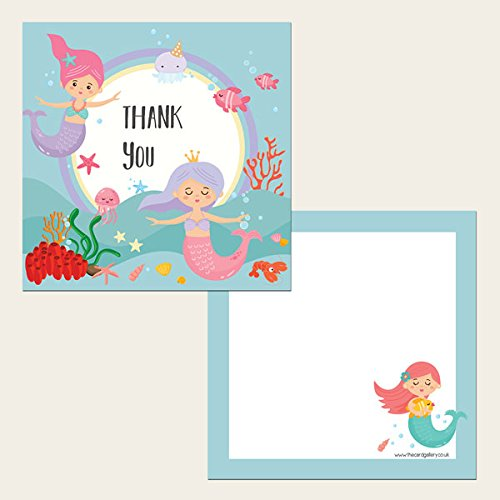 Kids Thank You Cards Mermaid Party Pack of 10
