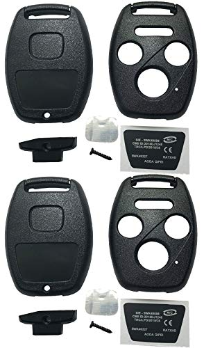 Horande Keyless Entry Key Fob Case Shell Fit for Honda 2003-2007 Accord 2005-2006 CR-V Ridgeline Civic Remote Control Key Combo 4 Buttons Replacement Car Key Cover Blank (Pack 2)
