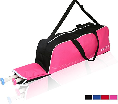 Athletico Baseball Tote Bag - Tote Bag for Baseball, T-Ball & Softball Equipment & Gear for Kids, Youth, and Adults | Holds Bat, Helmet, Glove, Shoes | Fence Hook - Pink Girls Softball Bags