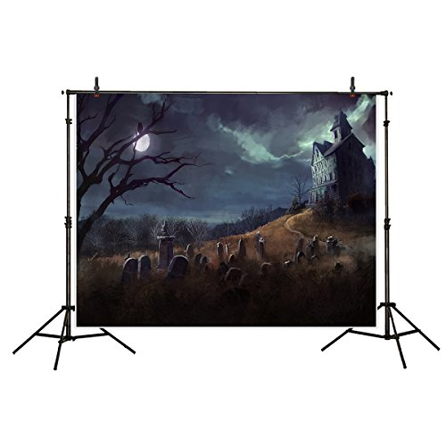 (Funnytree 7x5ft Gothic Cemetery Halloween Party Backdrop for Photography Scary Full Moon Fog Dark Night Cloudy Sky Polyester Background Haunted Mansion Photobooth Photo Studio)