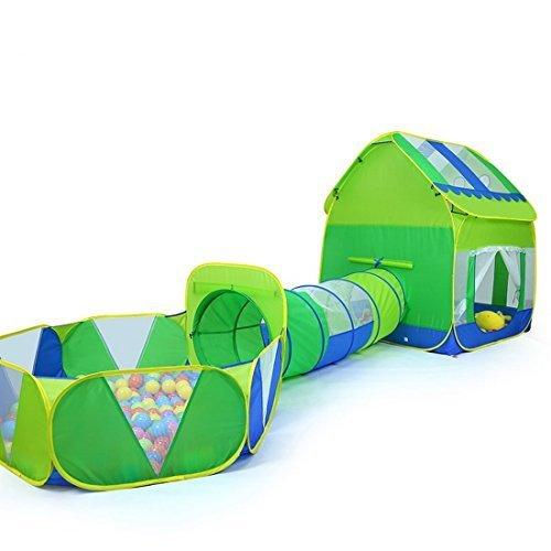 Truedays 3 in 1 Huge Green Play House Kids Adventure Play Tent Indoor Outdoor Tunnel Pool, no balls by Truedays