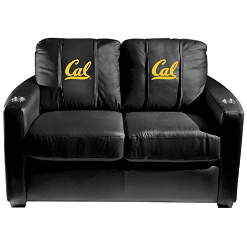 XZipit College Silver Loveseat with California Golden Bears Logo Panel, Black