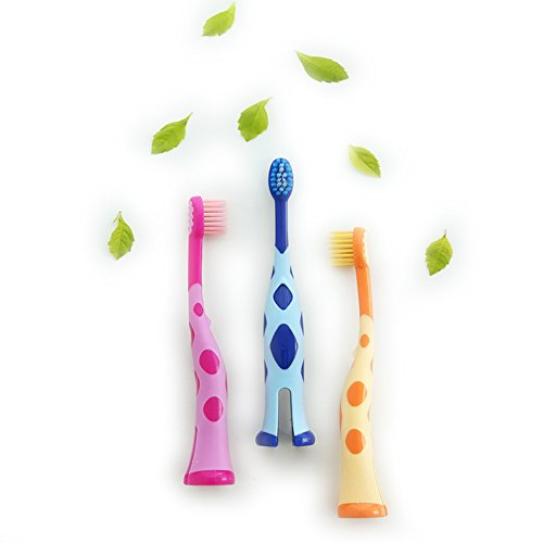 Kids Toothbrush, Homestylish Lovely Extra Soft Toothbrush for Kids 3-12 Years Old (3 Pack-orange&blue&pink) (Best Toothbrush For 3 Year Old)