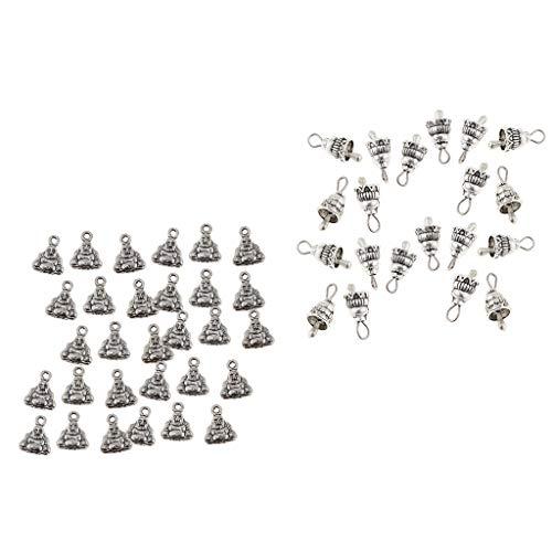 SM SunniMix 70Pcs Antique Silver Tibetan Metal Bell Buddha Budda Charms Pendants Craft