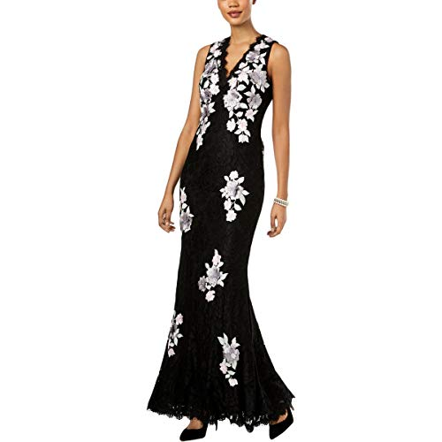 Betsy & Adam Womens Lace Applique Evening Dress Black 10 (Betsy Gown Adam & Evening)