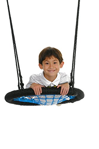 Premium 24'' Spider Web Playground Swing, Blue – Fully Assembled,, Tree Swing, Children's Swing, Simple Installation by Swinging Monkey Products