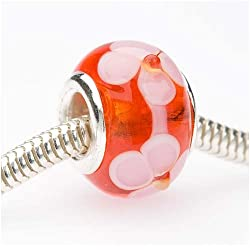 Beadaholique Murano Style Glass Lampwork Pandora Compatible Beads, 14mm, Siam Red with Pink Flowers