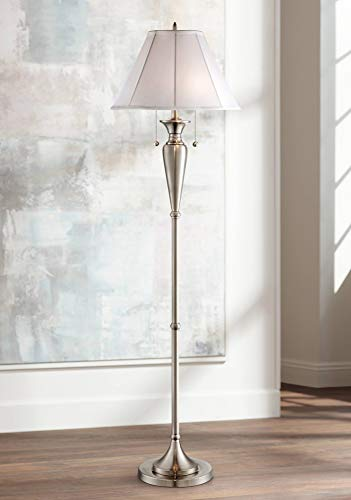Lucent Modern Floor Lamp Brushed Steel Metal Fabric Empire Shade for Living Room Reading Bedroom Office - Regency Hill