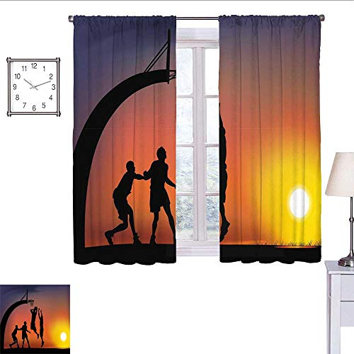 - Teen Room Decor Curtains for Living Room Boys Playing Basketball at Sunset Horizon Sky Dramatic Scene Curtain Panels Dark Coral Black Yellow W55 x L39