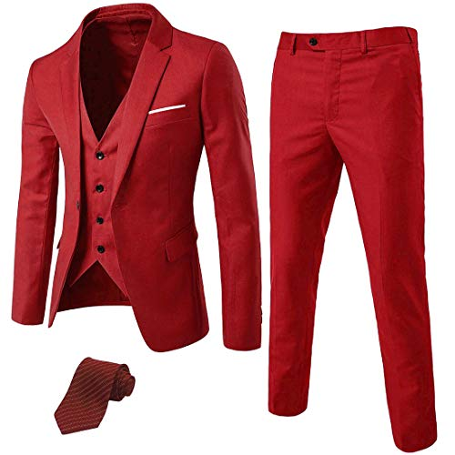 MY'S Men's 3 Piece Suit Blazer Slim Fit One Button Notch Lapel Dress Business Wedding Party Jacket Vest Pants & Tie Set Red