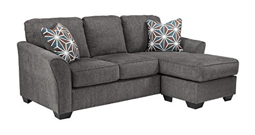 Loveseat Chaise (Benchcraft - Brise Contemporary Sofa Chaise - Slate Grey)