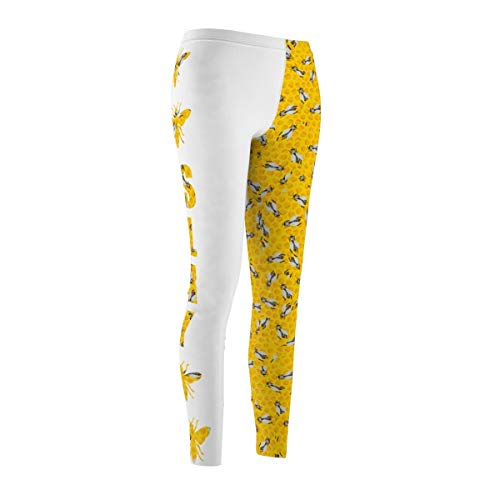 Fine Vintage Life Bey Hive Honey Comb Slay ONTRII Women's All Over Leggings - Two Tone White by Fine Vintage Life (Image #2)