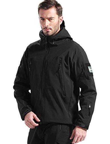 FREE SOLDIER Men Outdoor Tactical Softshell Jacket Waterproof Army Military Hooded jacket (Black, S)