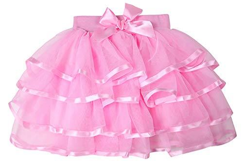 storeofbaby Baby Girls Pink Tutu Skirt 4 Layers Short Pleated Dress Up Cosplay Dance Petticoat ()