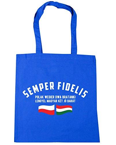 HippoWarehouse Semper fidelis Polak Wegier DWA bratanki (siempre fiel polaco húngaro hermanos) bolso de compras bolsa de gimnasio playa 42cm x38cm, 10litros Azul Aciano