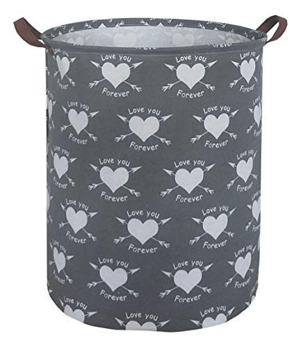 ESSME storage bins,laundry basket,Collapsible large size storage basket with Waterproof PE Coating,Canvas Fabric Nursery Hamper for Toy storage,Gift,Baby Clothing.(Love Arrows)