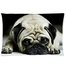"Decorative Funny Sad Pug Cute Dog Animal Throw Pillow Case Zippered Pillow Cover Rectangle Soft Pillowcase 20""x 30"" Inch"