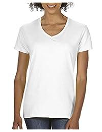 Gildan Womens Heavy Cotton V-Neck T-Shirt, 2-Pack