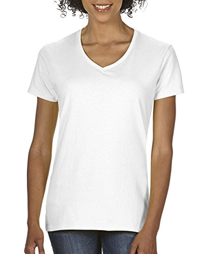 Gildan Women's Plus Size Heavy Cotton V-Neck T-Shirt, 2-Pack, White, (Plus Size Classic Cotton V-neck Tees)