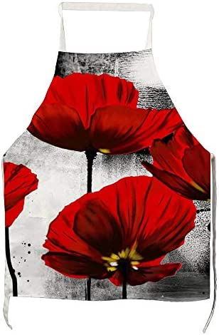 美しい赤いケシの花アート キッチンクッキングエプロンポケット付き女性と男性シェフキッチンホームレストランカフェクッキングベーキン