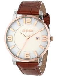 August Steiner Men's AS8055BR Slim Swiss Quartz Leather Strap Watch