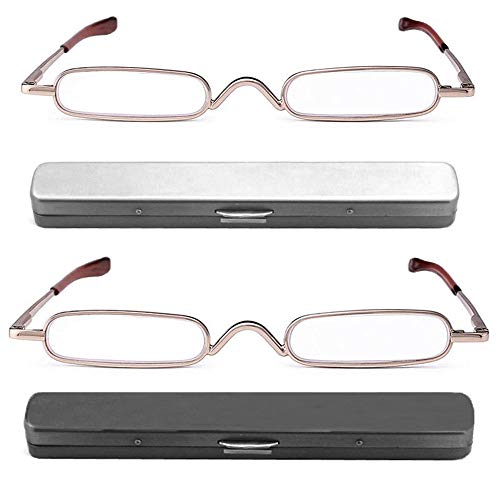 - REAVEE 2 Pack Metal Slim Reading Glasses Spring Hinged Pen Readers Small Rectangular Mini Portable Tube Readers w Pen Clip Case +2.5