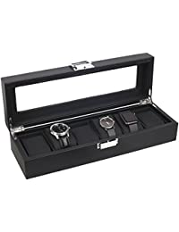 6-Watch Display Box Carbon Fiber Design with Glass Top