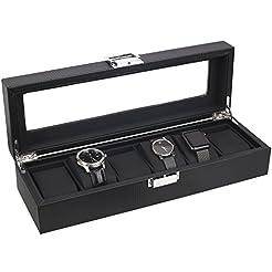 Mantello 6-Watch Box Carbon Fiber Design...