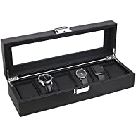Mantello 6-Watch Display Box Carbon Fiber Design w/ Glass Top