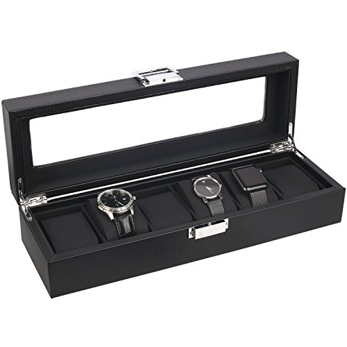 (Mantello 6-Watch Box Carbon Fiber Design with Glass Top)