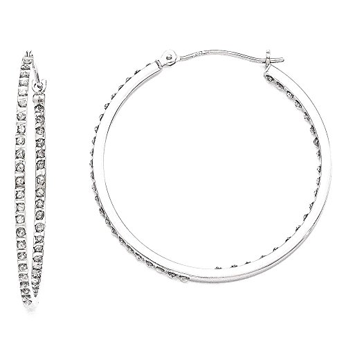 IceCarats 14k White Gold Diamond Fascination Round Hinged Hoop Earrings Ear Hoops Set For Women