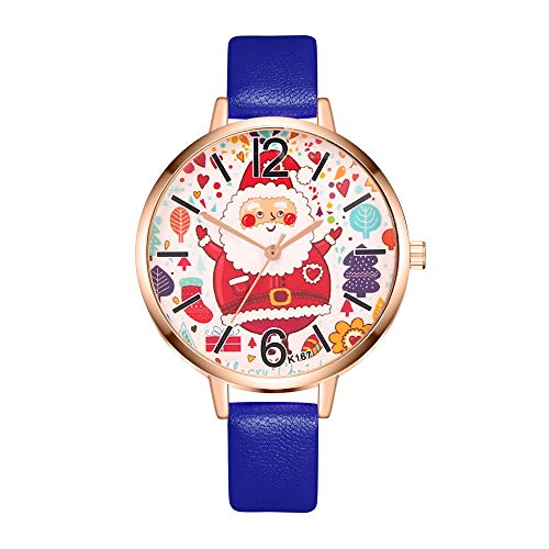 (Creazy Women Watch Christmas Leather Band Analog Quartz Vogue Wrist Watches Gift (Blue))