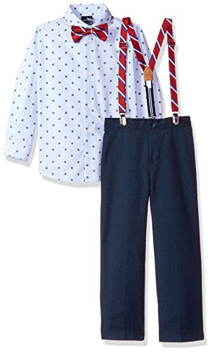 Nautica Little Boys' Set With Shirt, Pant, Suspenders, and Bow Tie, Dark Blue, 5