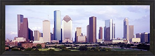 Houston, Texas Skyline by Panoramic Images Framed Art Print Wall Picture, Espresso Brown Frame, 38 x 14 inches