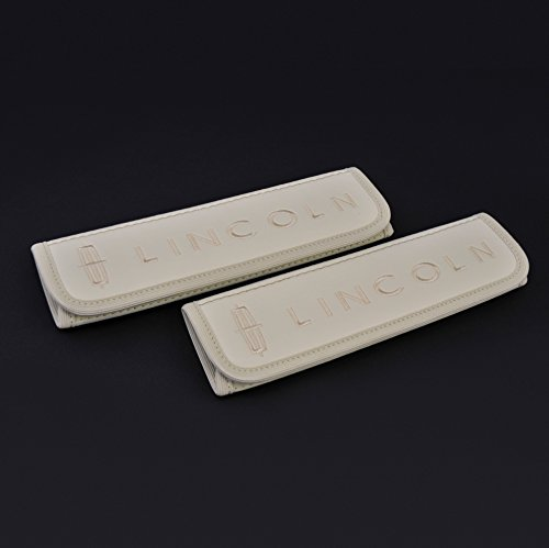 Car Interior Seat Belt Covers for Adults Beige Shoulder Pads Seatbelt Cover pad with Embroidered Beige Emblem Accessories Compatible for Lincoln Great idea for a Gift to The Driver! 2 pcs
