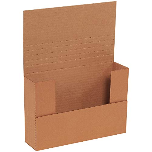 (Boxes Fast BFM962BFK Corrugated Cardboard Easy-Fold Mailers, 9 1/2 x 6 1/2 x 2 Inches, Fold Over Mailers, Adjustable Die-Cut Shipping Boxes, Multi-Depth, Medium Kraft Mailing Boxes (Pack of 50))