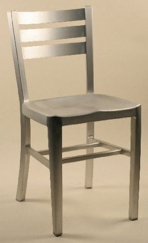 Modern Aluminum Chairs with Ladder Backs - Set of 2