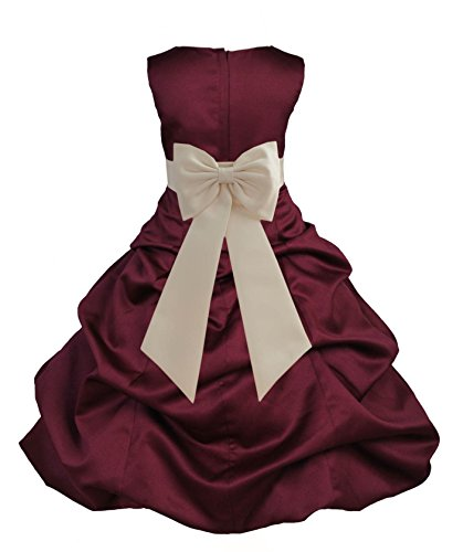 ekidsbridal Burgundy Satin Pick-Up Bubble Flower Girl Dress Daily Dress 808T 4