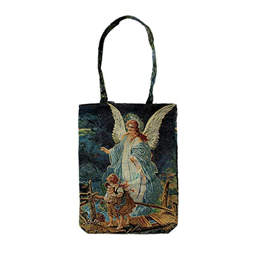 (Religious Inspirational Reusable Cotton Tapestry Tote Bag with Canvas of The Guardian Angel)