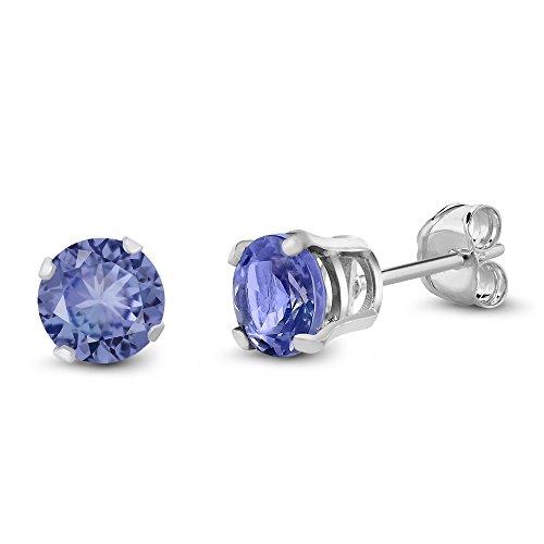 0.92 Ct Round 5MM Natural Blue Tanzanite Gemstone Birthstone 925 Sterling Silver Stud Women's Earrings