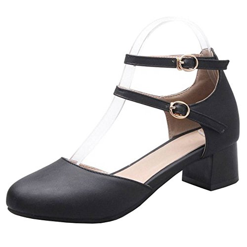 SJJH Casual Shoes with Cross Straps and Low Rounded Toe All Match Shoes for Women Black