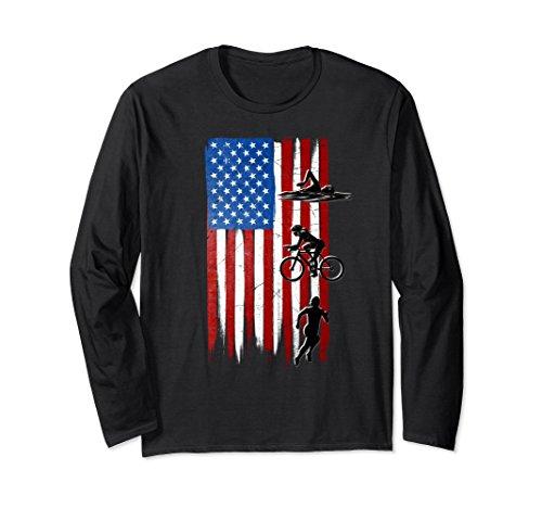 Unisex Women's Triathlon American Flag Long Sleeve T-Shirt Medium - Triathlon Shirts T Usa