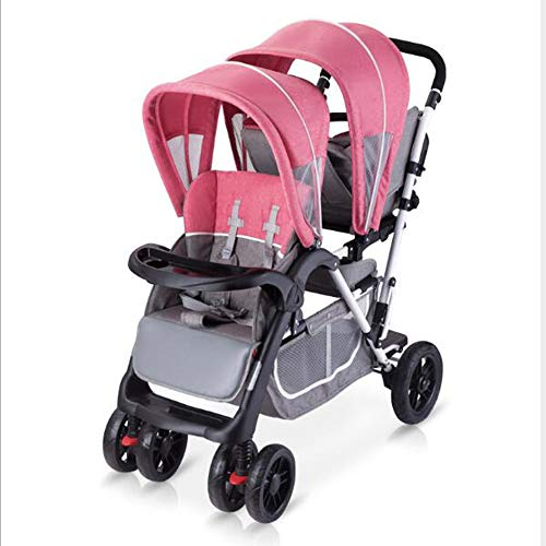 Double Baby Stroller Tandem Bassinet Pram Carriage Stroller Adjustable Sit and Stand Four Seasons Universal (Pink)