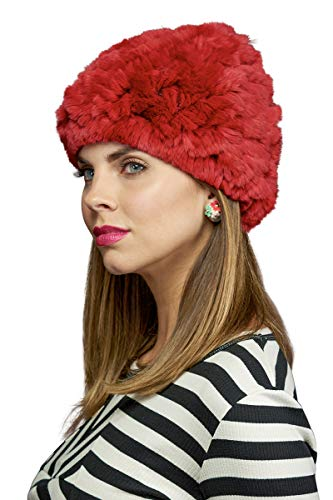 - EM-EL Dyed Red Rex Rabbit Knitted Slouch Fur Hat with Fox Pom