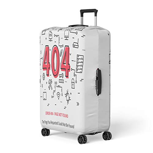 Pinbeam Luggage Cover Error 404 Page Datacenter Server Broken Not Found Travel Suitcase Cover Protector Baggage Case Fits 18-22 inches