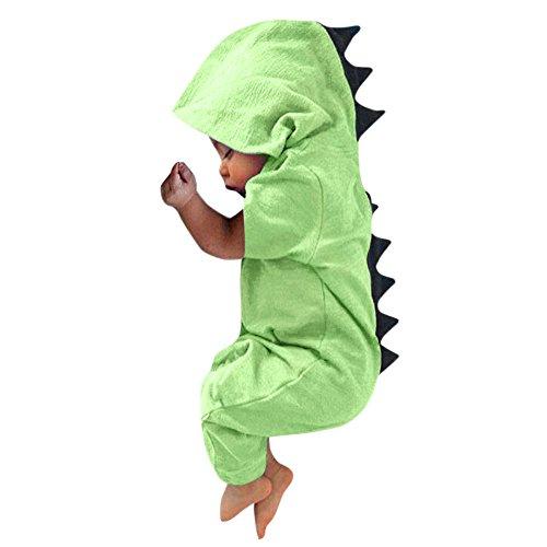 FEITONG Newborn Infant Baby Boy Girl Dinosaur Dorsal Fin Onesies Hooded Romper Jumpsuit(12-18M,Green) -