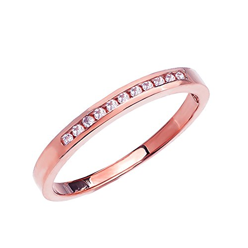 - 10k Rose Gold Channel-Set Diamond Wedding Band (Size 6.5)